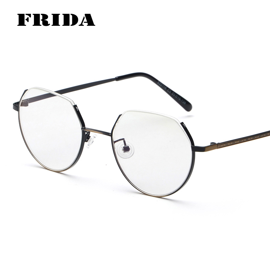 9d74bcd6490 FRIDA New Fashion Trimming Cut Metal Frame Plain Glasses Brand Design Vintage  Eyewear Frame Eye Glasses Frame Oculos De Grau
