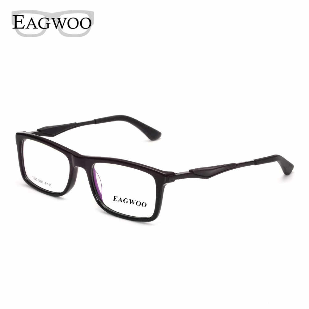 EAGWOO Eyeglasses Full Rim Optical Frame Prescription Spectacle Men Big Size Fashion Super Light Spring Temple Glasses 7023