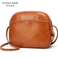 Vintage Oil Wax PU Leather Mini Messenger Bag Women Small Crossbody Bag High Quality Shell Over the Shoulder Bag Ladies Sling