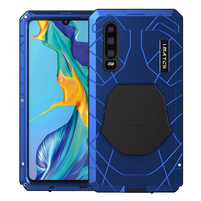 עבור Huawei P30 P30 פרו טלפון מקרה קשה אלומיניום מתכת מזג זכוכית מסך מגן כיסוי עבור Mate10 20 כבד החובה הגנה