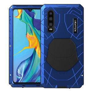Image 1 - Voor Huawei P30 P30 Pro Telefoon Case Hard Aluminium Metal Gehard Glas Screen Protector Cover Voor Mate10 20 Zware bescherming