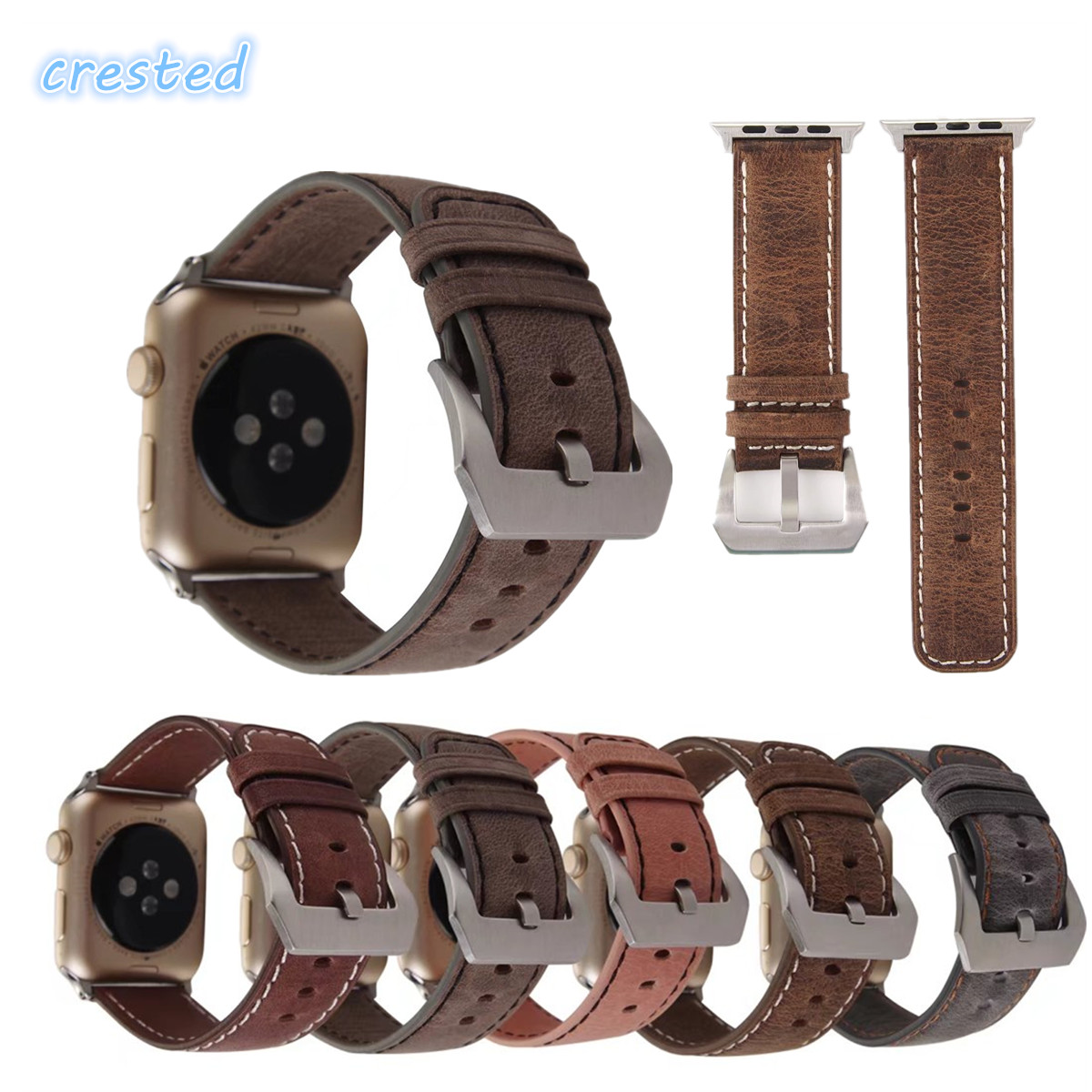 CRESTED Retro Leather Watch Band Strap for Apple Watch band 42 mm 38 mm replacement Wrist