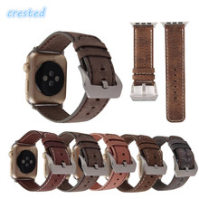 CRESTED Retro Leather Watch Band Strap for Apple Watch band 42 mm 38 mm replacement Wrist Watch Bracelet for iwatch band  1 2