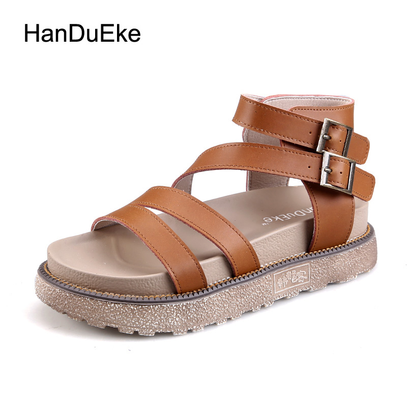 2017 Summer Platform Wedge Gladiator Sandals Shoes Women New Fashion Genuine Leather heel Sandals Zapatillas Mujer Plus Size 41 phyanic platform gladiator sandals 2017 new casual wedge shoes woman summer women ankle boots side zipper party shoes phy5036