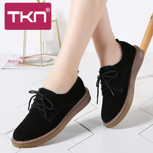 2019 Autumn Women Flats Oxfords Shoes Ladies Leather Suede Lace Up Ballerina Platform Shoes Woman Loafers Moccasins Creepers 989