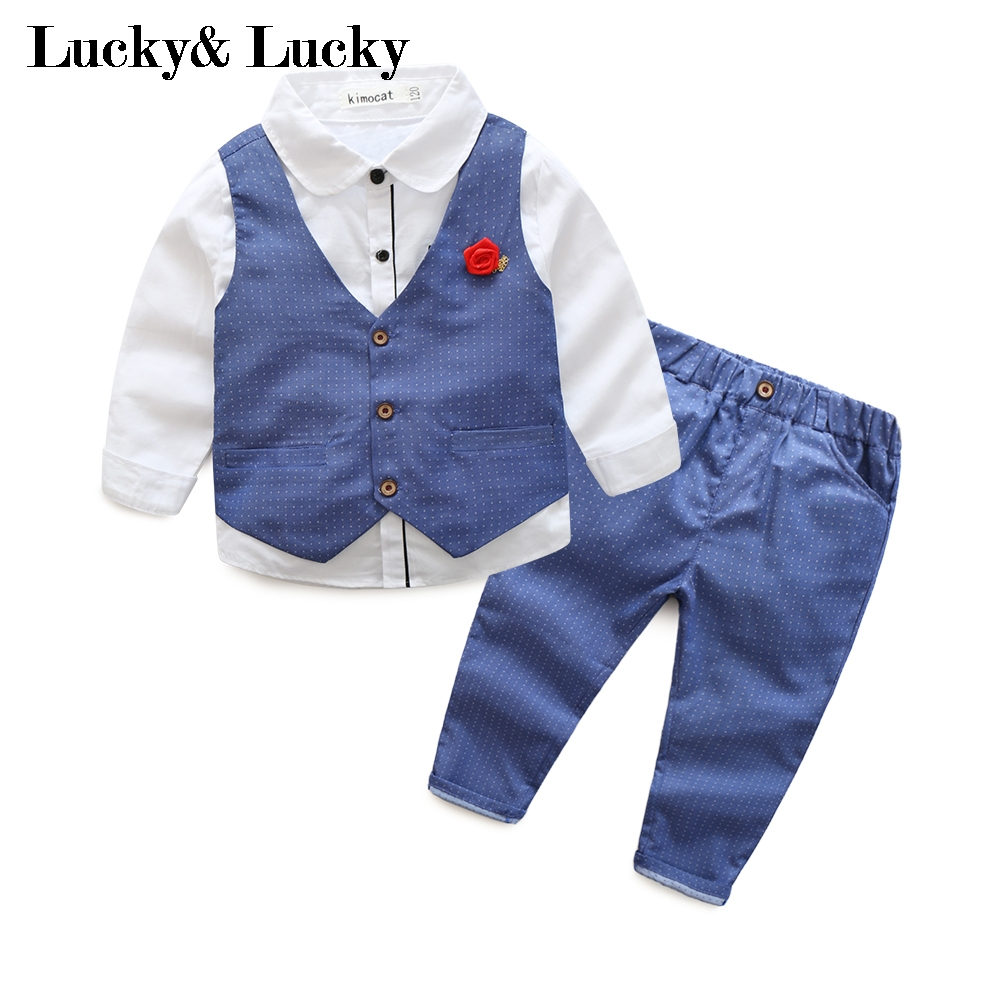 blue gentleman boys clothes 3pcs/set long sleeve shirt+vest+pants new style baby boy clothes kids clothing set plaid shirt with grey vest gentleman baby clothes with bow and casual pants 3pcs set for newborn clothes
