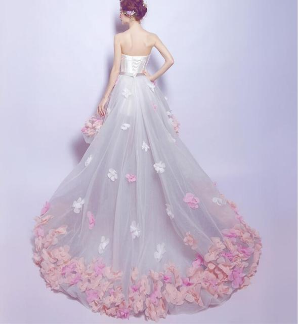 2019 Flowers Prom Dresses Short Front Long Back Evening Gown Gray Organza Fashion Party Formal Gown for Graduation 2