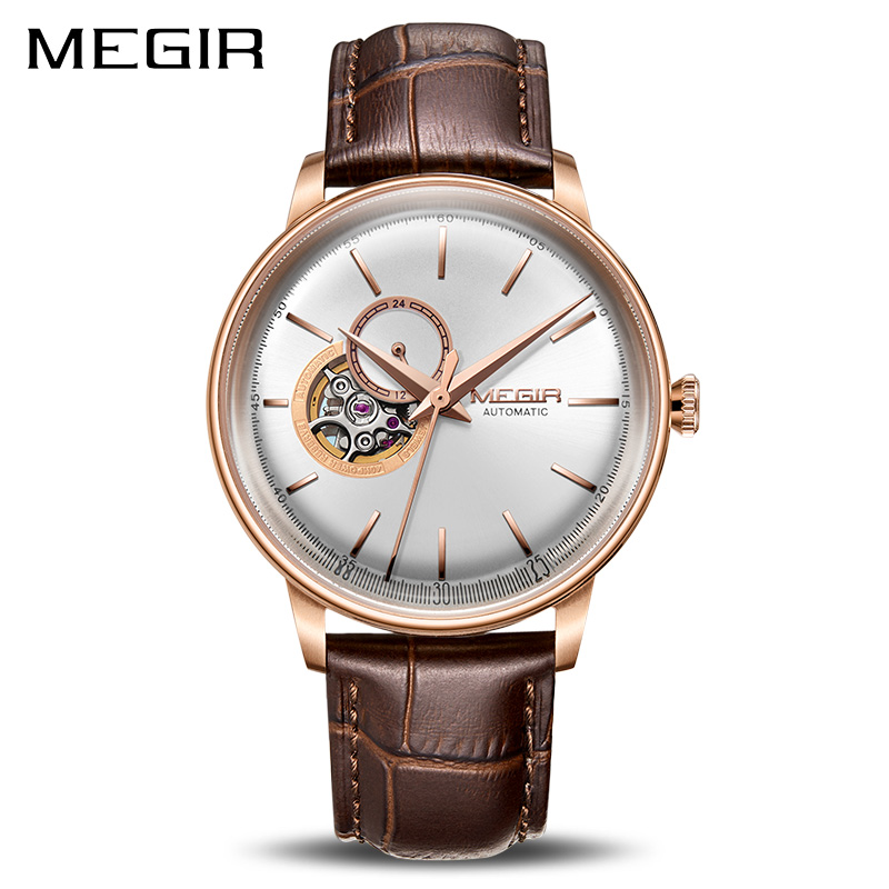 MEGIR Automatic Mechanical Watches Top Brand Luxury Skeleton Men Watch Clock Business Leather Wristwatches Relogio Masculino