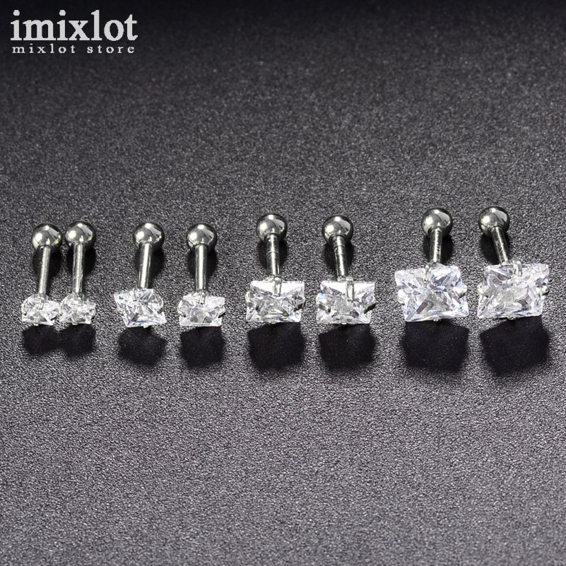 Imixlot 2pcs Surgical Steel Crystal Square Ear Studs Cartilage Earrings Tragus Helix Piercing Ear Studs Lip Rings Body Jewelry