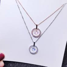 Simple Round Shinning Zircon Necklace Women 2019 New Classic Fashion Jewelry Collares Rose Gold/Silver Color