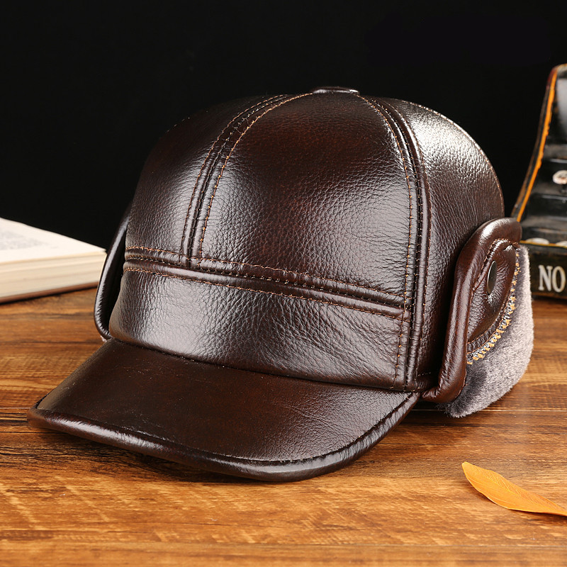 Fashion baseball cap 100% Cowhide leather hat autumn and winter thick casquette elderly men warm ear hat factory wholesale men hat europe and the united states fashion leather simple autumn and winter wild baseball cap out fashion hot sale