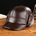 Fashion baseball cap 100% Cowhide leather hat autumn and winter thick casquette elderly men warm ear hat factory wholesale