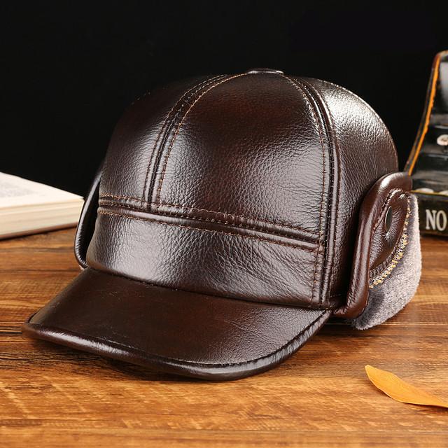 Moda boné de beisebol 100% chapéu de couro outono e inverno de espessura Do Couro casquette homens idosos chapéu orelha quente de fábrica por atacado