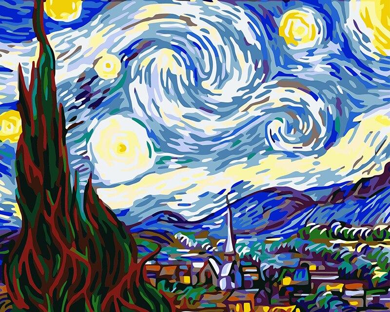 Las mejores imágenes DIY pintura al óleo Digital por números Navidad cumpleaños regalo único 40 50 cm Van Gogh noche estrellada