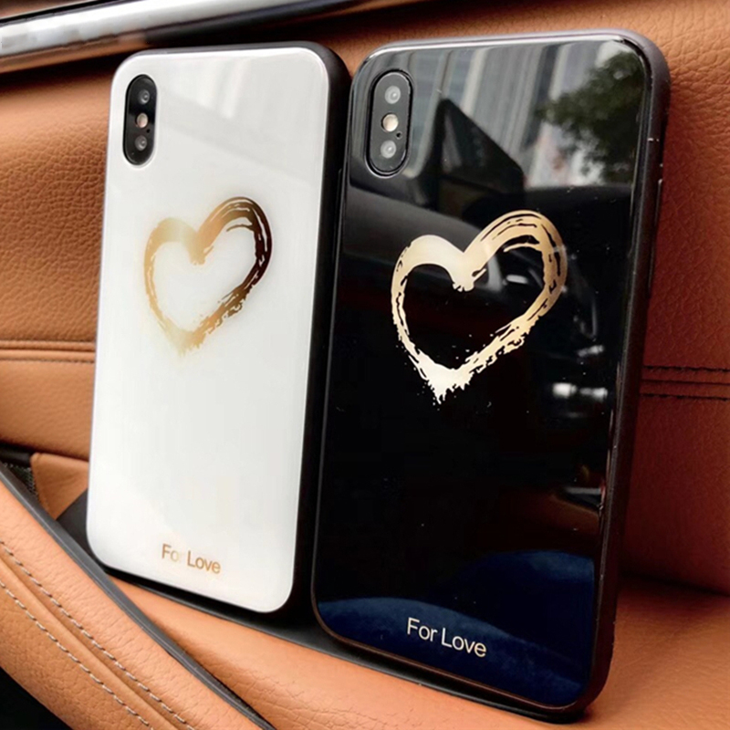 a6112a54f3 Cute Couple Love Heart Glass Case For iPhone X 8 7 6 6s Plus 9H Hardness Tempered  Glass Hard Love Phone Cases For iPhone 6S Capa