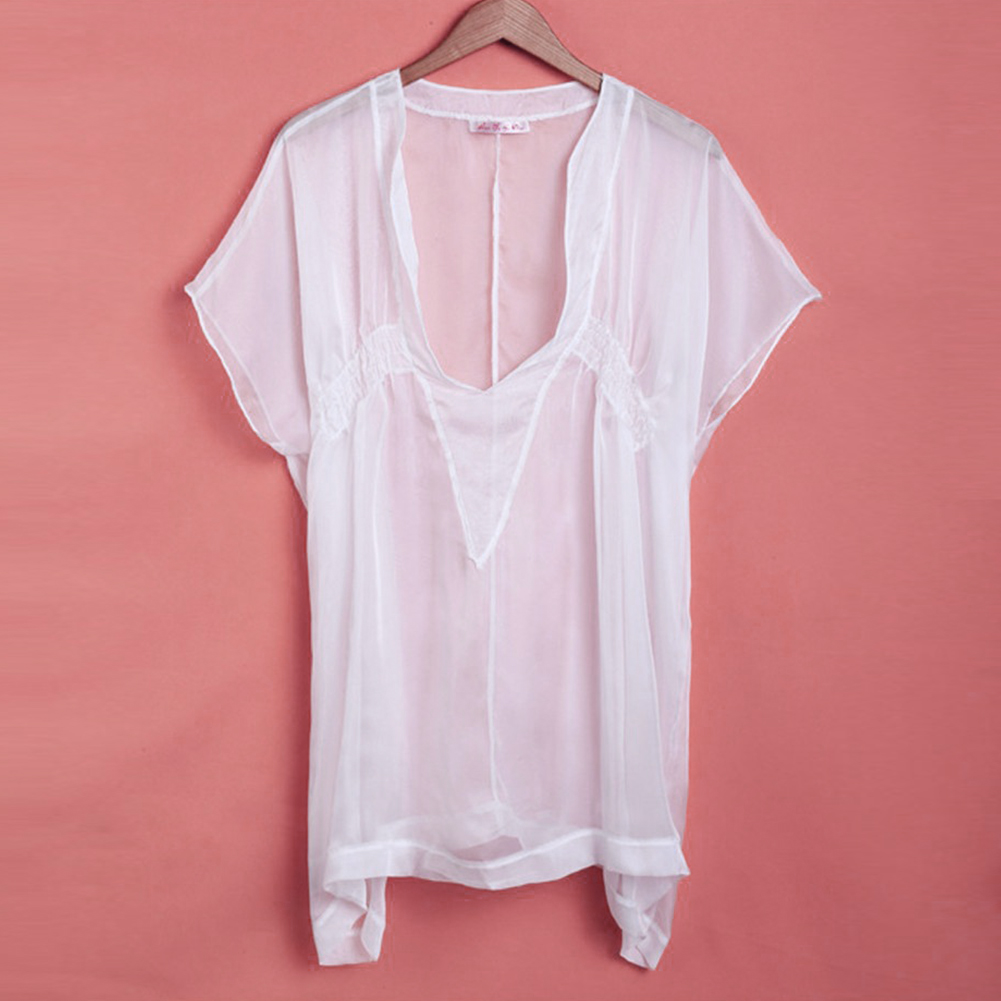 Women's Clothing Reasonable Summer Design Women Sexy V-neck Transparent See-through Loose Beachwear Bikini Smock Sunscreen Blouse Tops