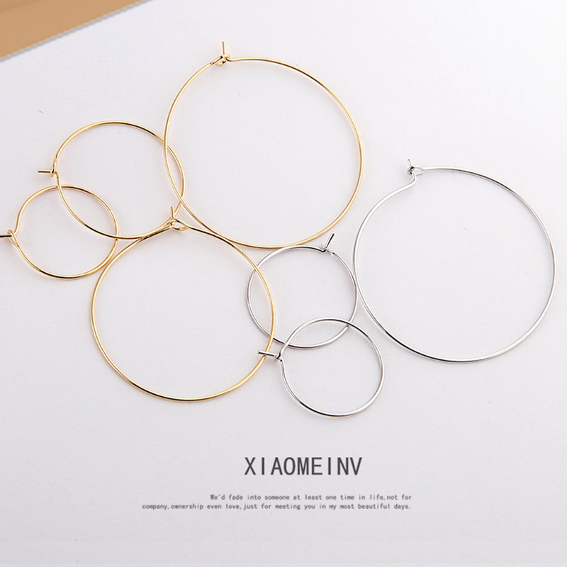 6 Pcs 20 25 35 40mm Gold Silver round earrings fashion big round hoop circle earrings Material DIY Handmade Jewelry Accessories in Hoop Earrings from Jewelry Accessories
