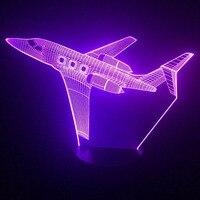 3d طائرات طائرة الهواء طائرة الجدول مصباح 7 ألوان تغيير الصمام نوم الطفل النوم ليلة ضوء usb الإضاءة الاطفال هدايا العيد ديكور