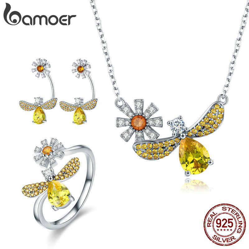 BAMOER Real 925 Sterling Silver Yellow Crystal Dargonfly Necklaces Rings Jewelry Sets for Women Sterling Silver Jewelry ZHS068