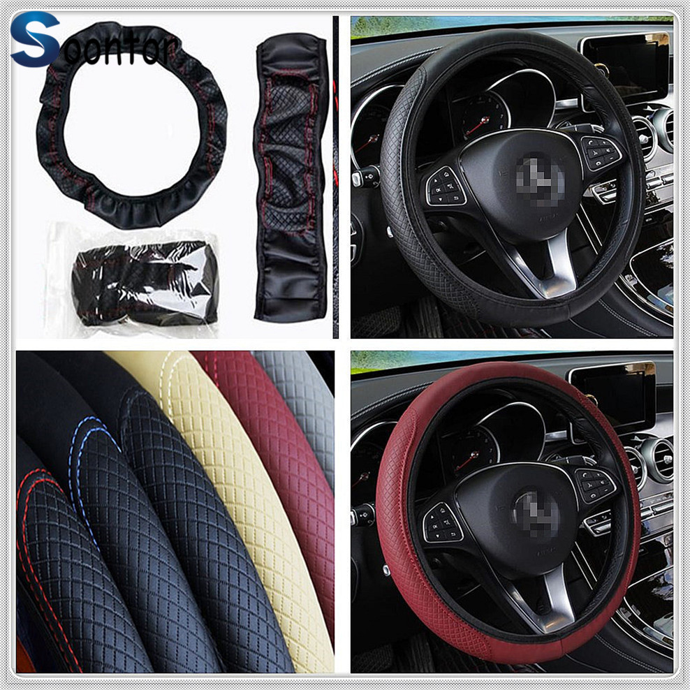 car 38cm Steering <font><b>wheel</b></font> Artificial Leather Cover for Mercedes Benz W211 W203 W204 W210 <font><b>W124</b></font> AMG W202 CLA W212 W220 CLK63 R F700 image