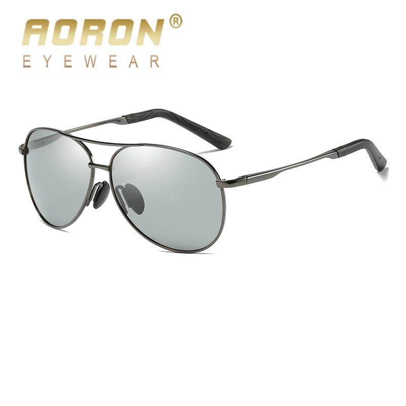 2017 AORON Brand Photochromic Sunglasses Mens font b Polarized b font Discoloration Goggle Male Aluminum Magnesium