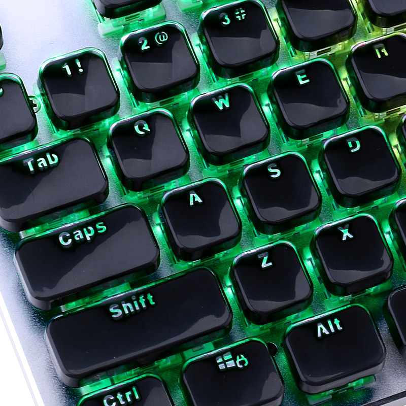 Retro Double Shot Injection White Bi-Color Crystal Edge Keycaps For Mechanical Keyboard With Key Puller Flat 104 Keys US Layout
