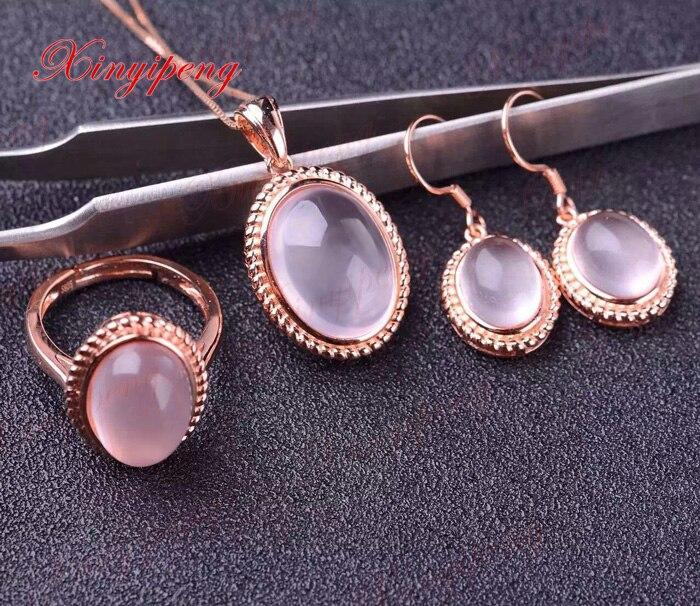 100% naturel Rose quartz costume bijoux 925 en argent Sterling femme mode bijoux complet humide100% naturel Rose quartz costume bijoux 925 en argent Sterling femme mode bijoux complet humide