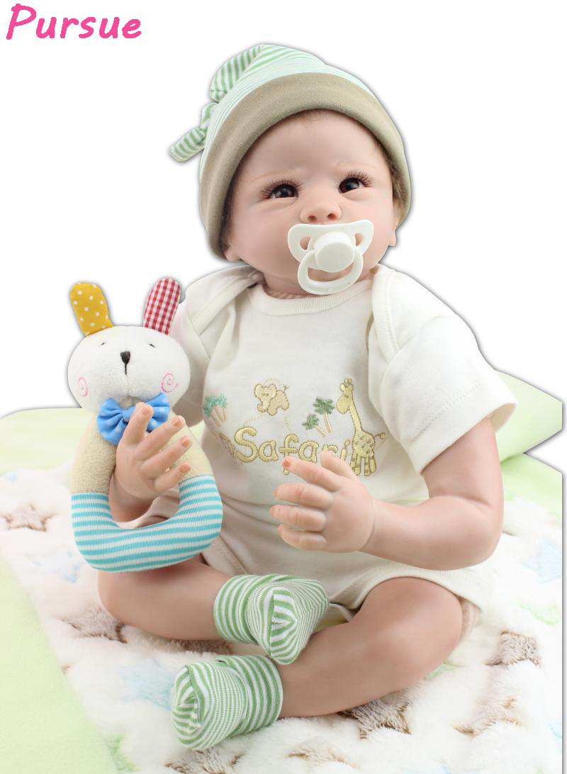 Pursue 55cm Green Clothes Doll Reborn Silicone Baby Boy ...