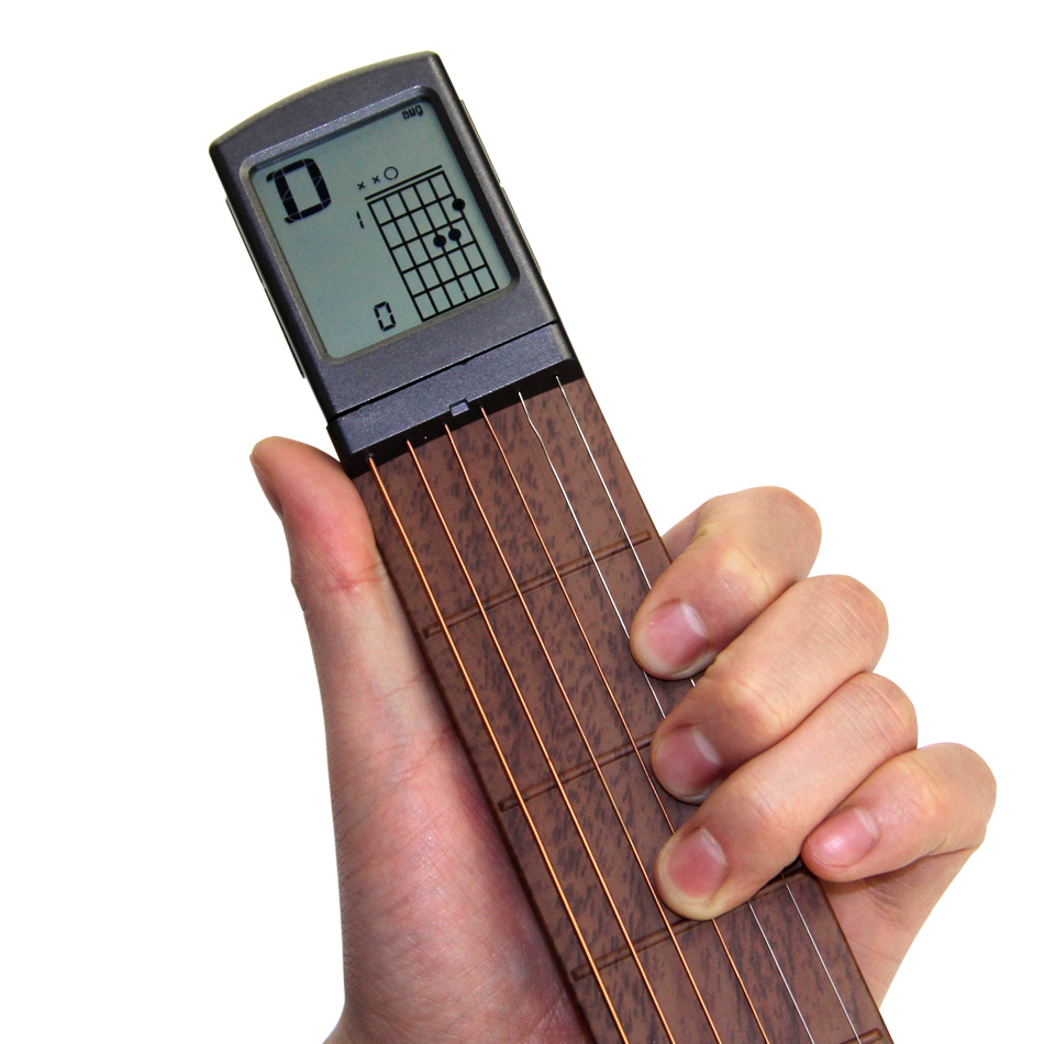 Electric Guitar Practice Tools Portable 6-Tone Pocket Guitar Gadgets Aerial Guitar Finger Exerciser display of Fingering