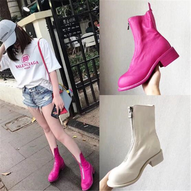 Booties Mujer Front Zipper Retro Tube Women Boots 2018 Autumn Winter Boots Leather Mid Low-heeled Martin Boots Shoes Botas Mujer