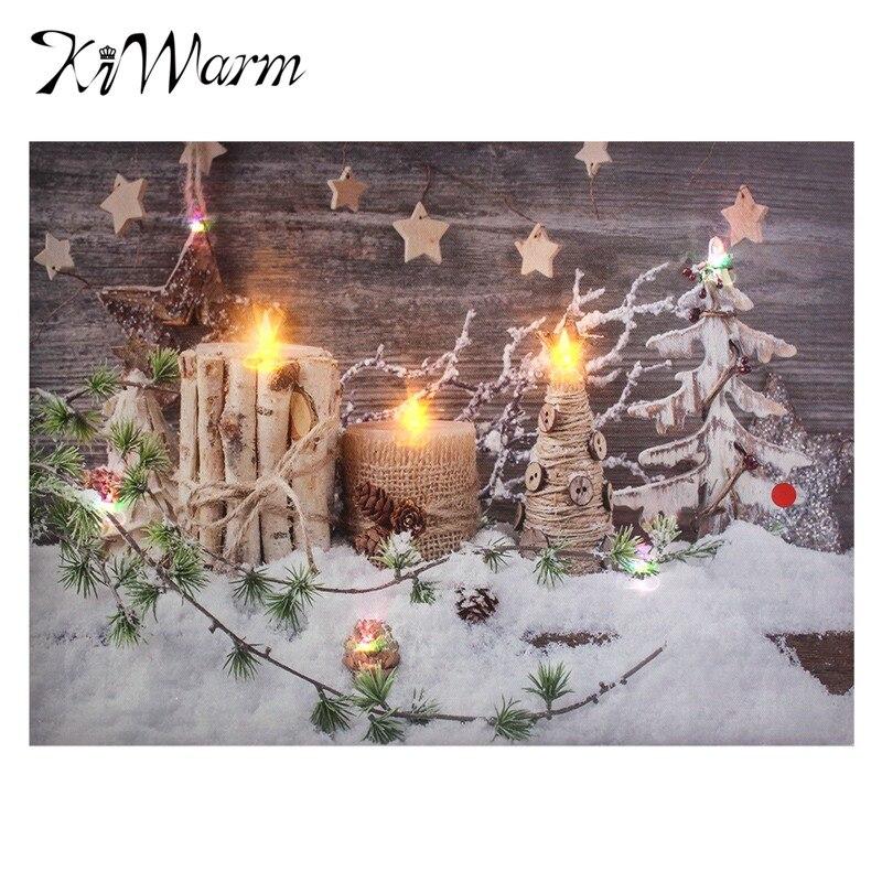 weihnachten schnee landschaft kerzen leuchten led leinwand malerei kunst wandbild f r zuhause. Black Bedroom Furniture Sets. Home Design Ideas