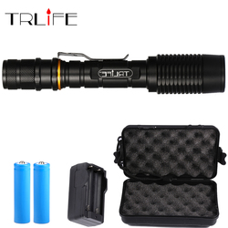 Rechargeable Self Defense Lamp T6/L2 Brightest 10000LM LED Flashlight Torch zoomable 5 modes led torch by 2x18650 batteries