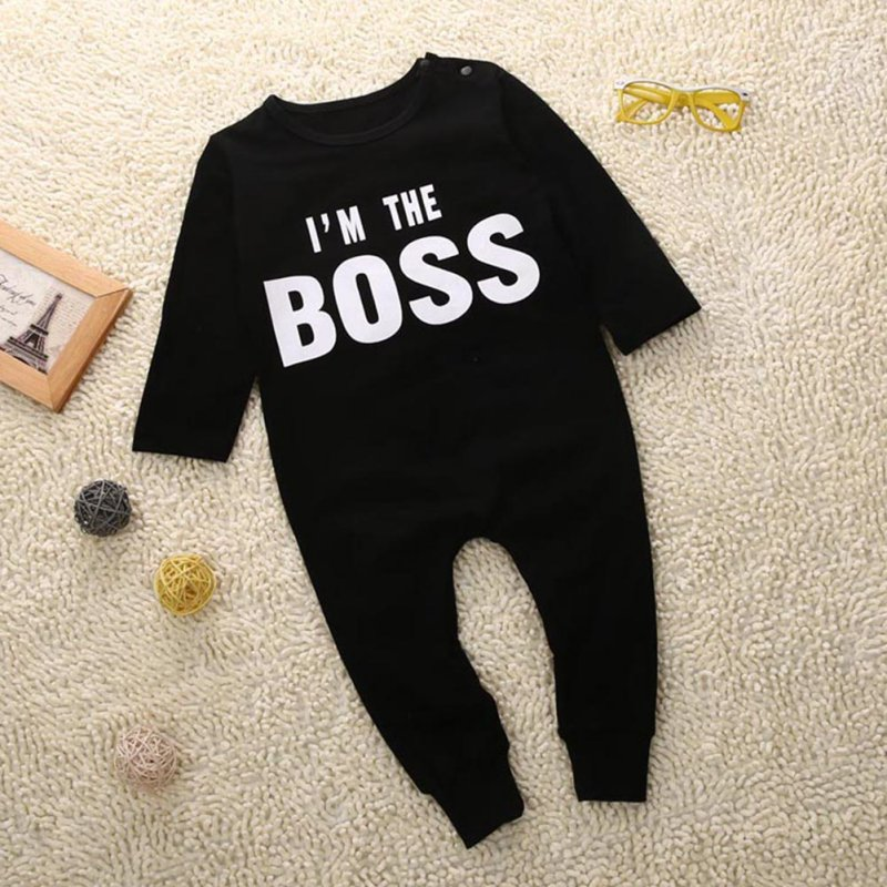 Letter Printed IM THE BOSS Baby Kids Cute Pattern Outfits Sets Boys Girls Long Sleeve Romper Jumpsuit Bodysuit Kids Clothes
