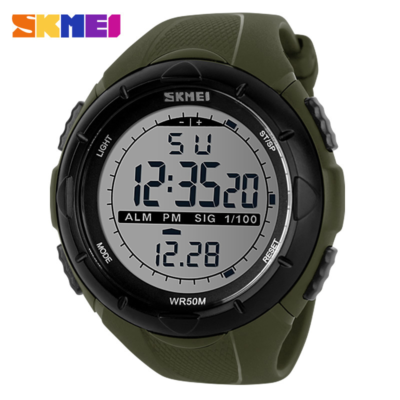 SKMEI Brand 1025 LED Digital Mens Military Watch Men Sports Watches 5ATM Swim Climbing Men Wristwatches Fashion Outdoor Casual
