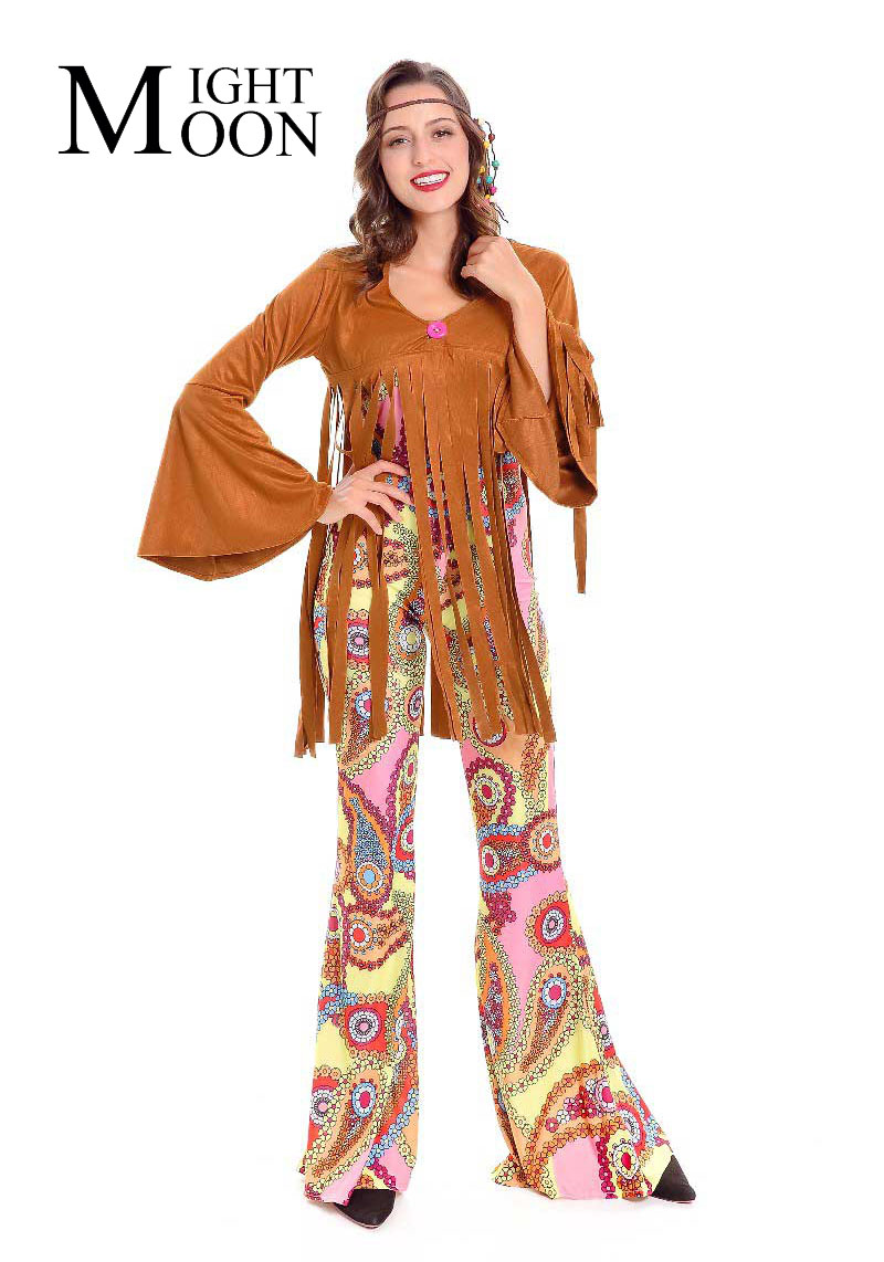 MOONIGHT Hippie Costume American Native Costumes 70S Retro Party Stagewear Clothes Halloween Costumes For Women