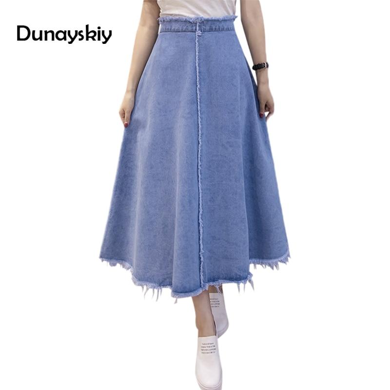 Summer Autumn Jeans skirt Denim Long Skirt High Waist ...