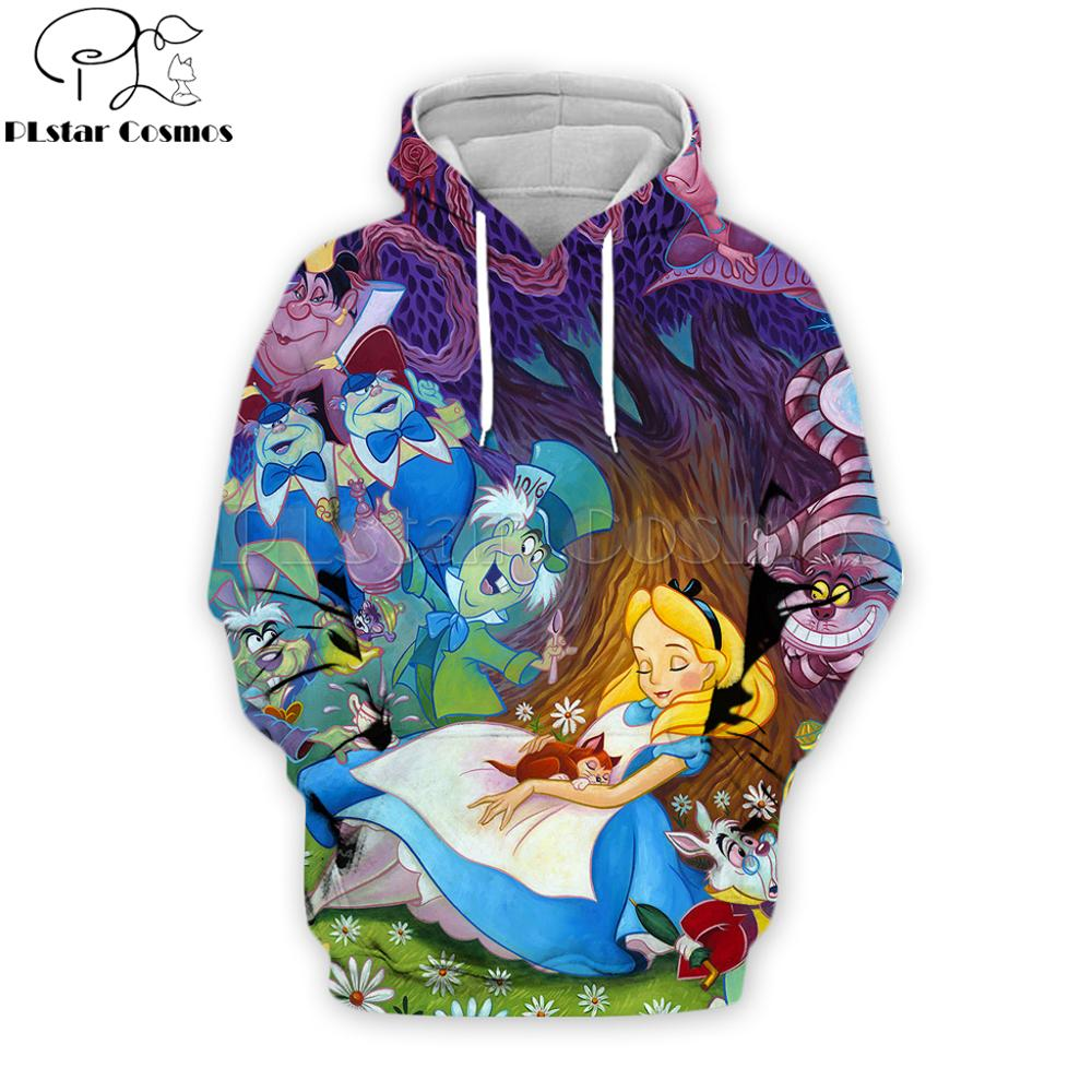 PLstar Cosmos Brand Costume 2019 Fashion Male/Female Hoodies Alice In Wonderland Cartoon 3D Printed Streetwear Hooded Jacket