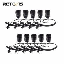 10pcs 2 Pin PTT Speaker Mic For KENWOOD BAOFENG UV-5R BF-888S RETEVIS H777 RT5R RT3 RT5 RT22 Walkie Talkie C9021A