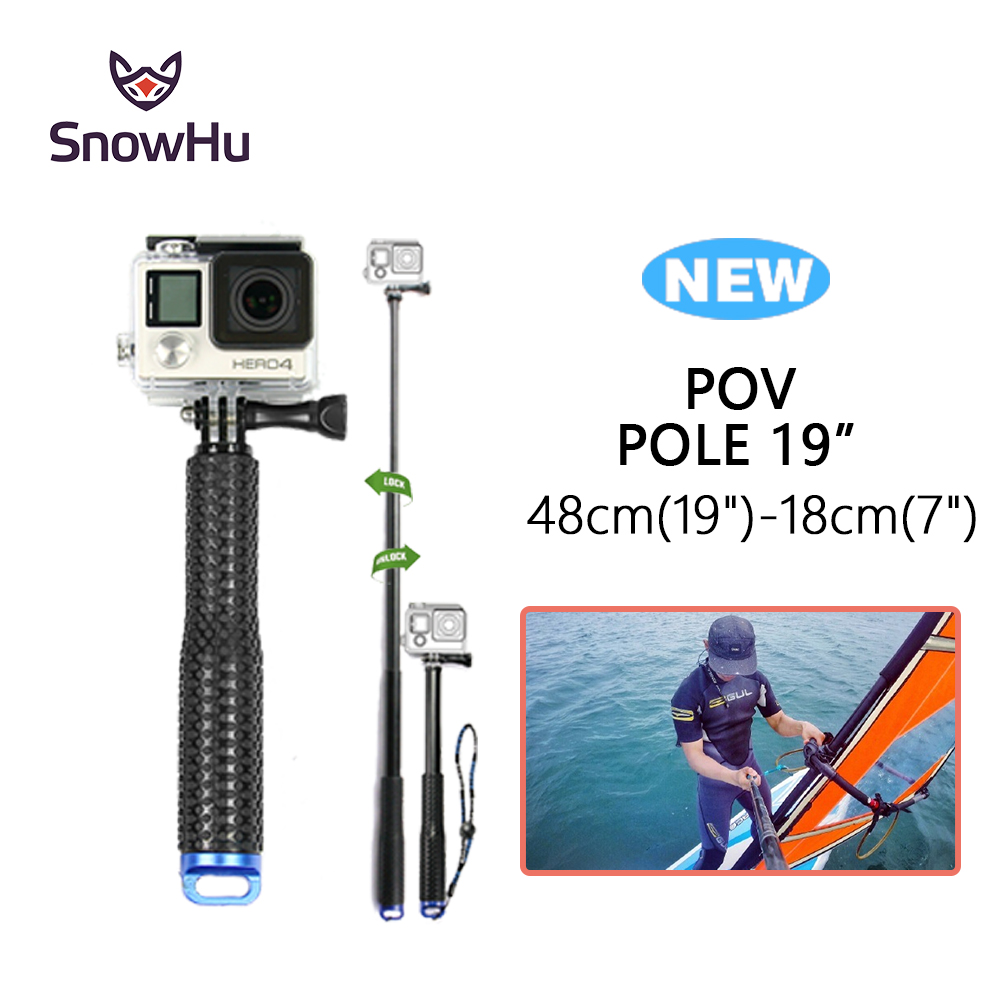 SnowHu for GoPro 6 5 Aluminum Extendable Pole font b Selfie b font font b Stick