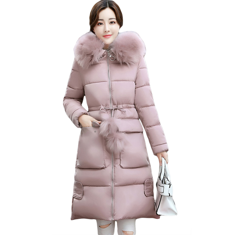 New Winter Coat Women 2017 Large Fur Hooded Long Jacket Women Parkas Cotton-padded Thick Warm Female Coat Plus Size S-3XL CM1644 women winter cotton padded jacket warm slim parkas long thick coat with fur ball hooded outercoat female overknee hoodies parkas