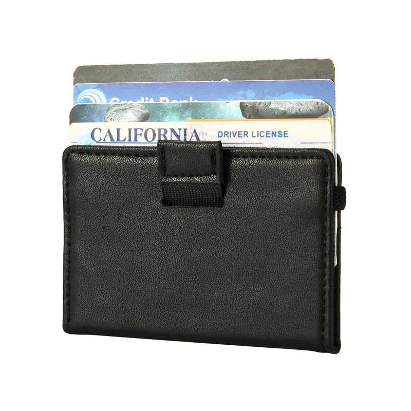 Minimalist Slim Wallet RFID Protection Genuine Leather Card Holder Case Front Money Bag with Elastic Band Men Mini Wallets