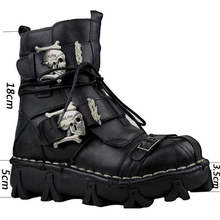 bd1963fb4b4e Men s Cowhide Genuine Leather Work Boots Military Combat Boots Gothic Skull  Punk Motorcycle Martin BootsKnight boots