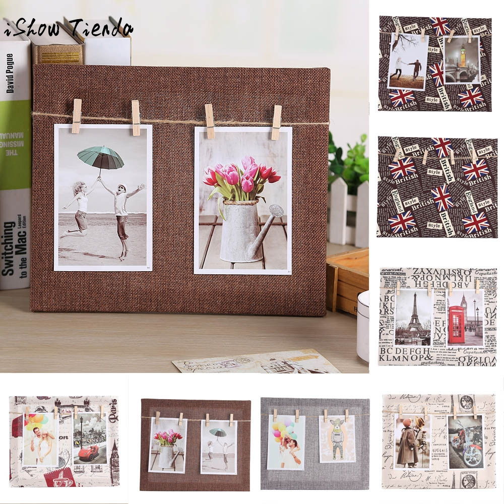 1set paper photo diy cloth wall art picture hanging album for Picture frame with clips diy