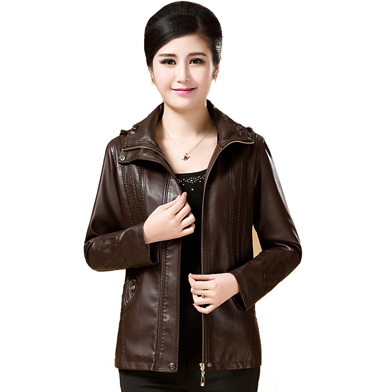 Plus Size 2XL 3XL 4XL 5XL 6XL   Leather   Jackets Women   Leather   Coats 2017 autumn Winter Casual Fashion hooded Jackets Coats QH0684
