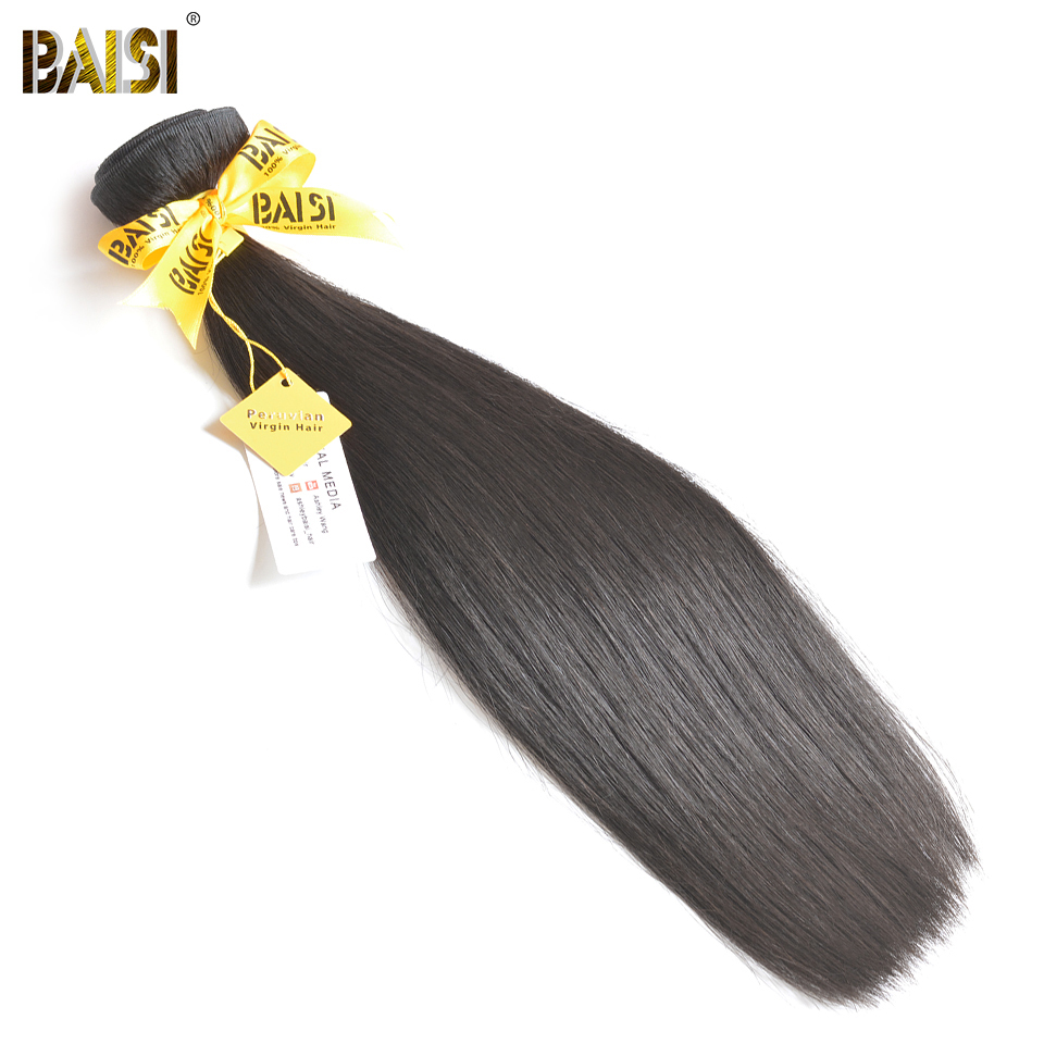 BAISI pelo 100% sin procesar 10A virgen pelo peruano de la Virgen del pelo recto extensión 1/3/4 piezas 8-34 pulgadas envío gratis