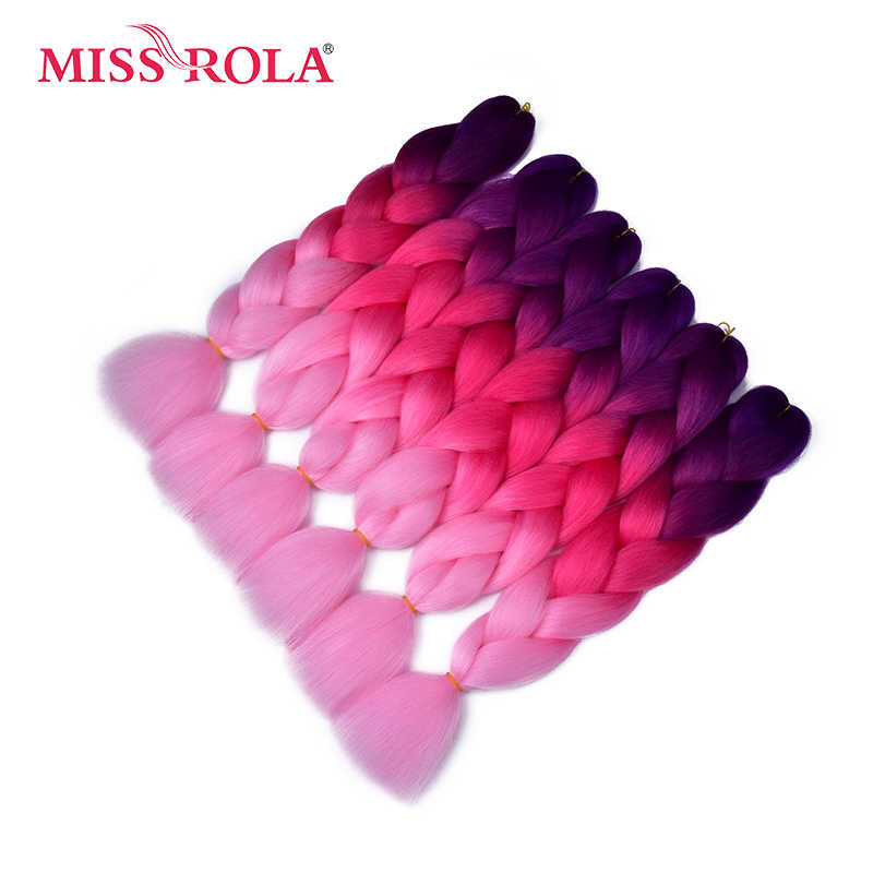 Miss Rola 100g Ultra Jumbo Braiding Crochet Hair Extensions 1pc 89 Ombre Colors Synthetic Crochet Braids Hair Color