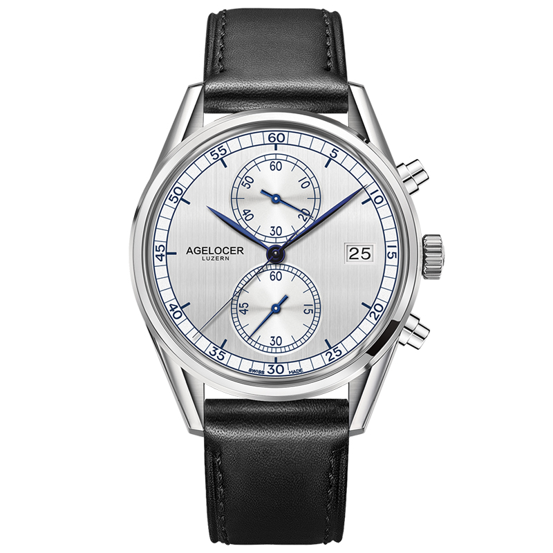 Agelocer Mens Fashion Watches Calfskin Strap Chronograph Sport Watches Sapphire Crystal Quartz Watches 2101A1Agelocer Mens Fashion Watches Calfskin Strap Chronograph Sport Watches Sapphire Crystal Quartz Watches 2101A1