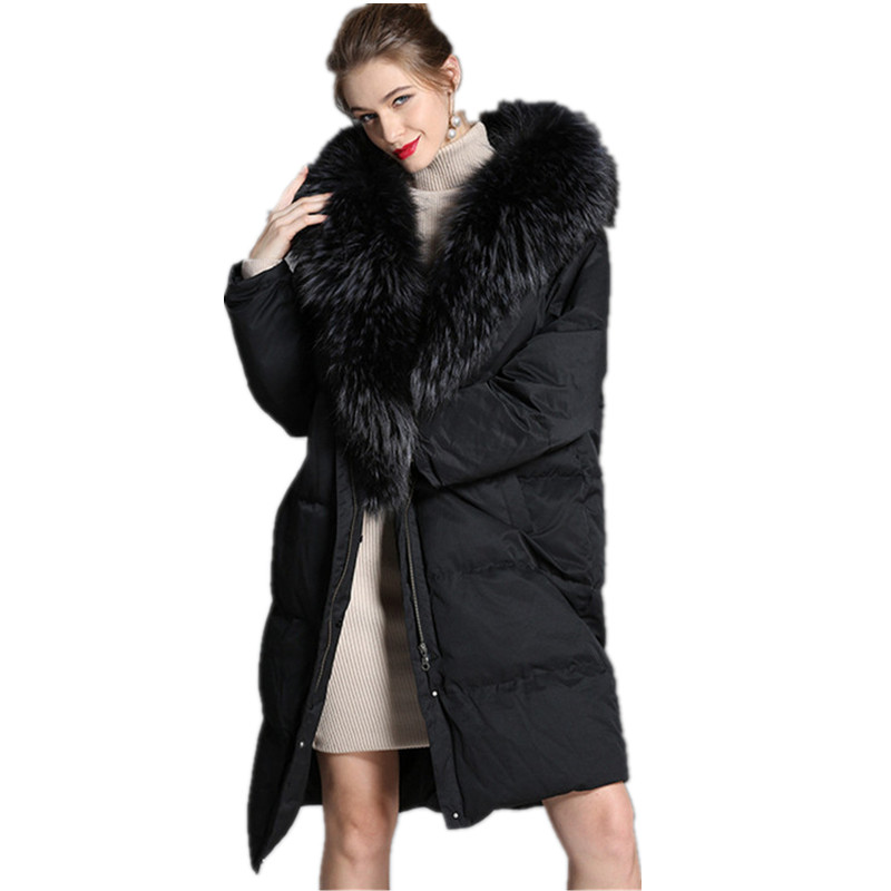 High-End Down Jacket Female 2018 New Winter Thick Women'S Long Section Real Fur Collar Hooded 90% White Duck Down Women'S Jacket