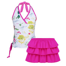 ec1443aca13 Children Kids Girls Floral Printed Adjustable Halter Top Tankini Swimwear  Swimsuit Set Swimming Surfing and Holiday · 2 Colors Available