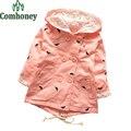 Trench Coat Para Las Muchachas Niños Rosa Gabardina Con Capucha de Encaje Chaqueta de Abrigo Infantil Pequeños Pies Del Bebé de Doble Botonadura Chica Cazadora